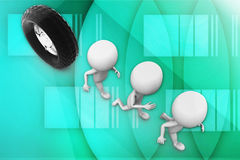 3d tyre and  group of people illustration Stock Images