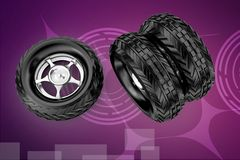3d tyres illustration Stock Photos