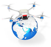3d UAV drone with earth globe Stock Photos
