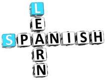 3D Uczą się Hiszpańskiego Crossword Zdjęcie Stock