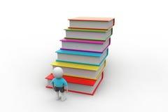 3d uczeń i książki, edukaci pojęcie Fotografia Stock