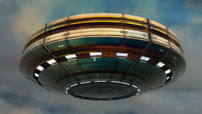 3d UFO. Concept desing and blue sky Royalty Free Stock Photography