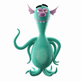 3D ufo creature clings. 3D cartoon funny character, undersea octopus or bacteria, imaginative little creep, for free use by imagination stock illustration