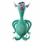 3D ufo creature clings. 3D cartoon funny character, undersea octopus or bacteria, imaginative little creep, for free use by imagination Royalty Free Stock Image