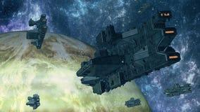 3d UFO w przestrzeni royalty ilustracja