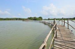 Długi koszowy drewno most przez jezioro Fotografia Royalty Free