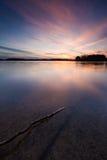 Długi ujawnienia jezioro przy zmierzchem Zdjęcia Royalty Free