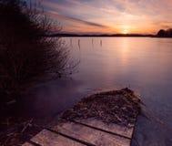 Długi ujawnienia jezioro przy zmierzchem Zdjęcia Stock