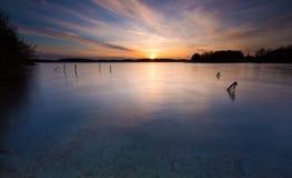 Długi ujawnienia jezioro przy zmierzchem Obrazy Royalty Free