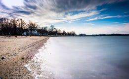 Długi ujawnienie na Chesapeake zatoce w Oxford, Maryland Obraz Stock