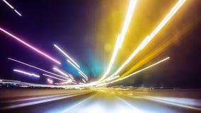 Długi ujawnienie nocy ruch drogowy Fotografia Stock
