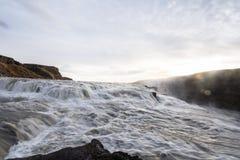 Długi ujawnienie, ranku Gullfoss siklawa, Iceland Zdjęcia Royalty Free
