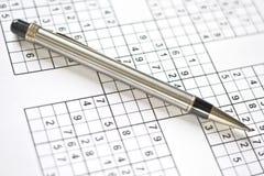 długopisy siatek sudoku Zdjęcie Stock