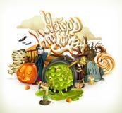 3d uitnodiging van Halloween Pompoen, heks, vampier, suikergoedgraan Reeks beeldverhaalkarakters en voorwerpen royalty-vrije illustratie
