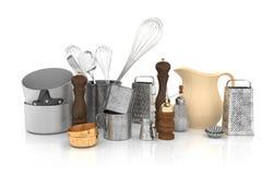 3d - uitstekend retro keukenmateriaal Stock Foto's