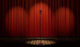 3d uitstekende microfoon op stadium met rood gordijn Stock Afbeeldingen