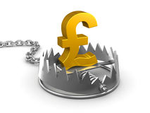 3d UK Pounds Sterling in a bear trap. 3d render of a gold UK Pounds Sterling symbol in a bear trap royalty free illustration