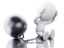 3D Ukarana przestępca wiążąca z żelazną piłką royalty ilustracja