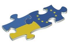 3D Ukraine and EU puzzles from flags. 3D Ukraine and European Union puzzles from flags Stock Photo