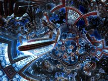 3d ultraviolet fractal of future city. Development civilization in galaxy. Royalty Free Stock Photography