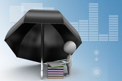 3d umbrella with Books illustration Stock Images