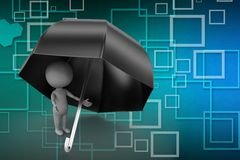 3d umbrella with Books illustration Royalty Free Stock Images