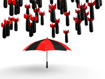 3d umbrella protecting from falling bombs. 3d render of umbrella protecting from falling bombs Stock Photo