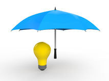 3d umbrella protecting idea bulb Royalty Free Stock Photos