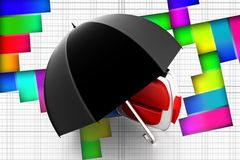 3d Umbrella School Bag illustration Royalty Free Stock Images