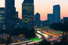 5 d'un état à un autre et en centre ville à Seattle Image stock