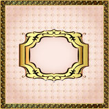 D'un fond de rose encadré avec les perles et l'ornement d'or Image stock