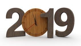 3D un'illustrazione di 2019, data con l'orologio meccanico di legno Idea per il calendario, le feste del nuovo anno, la celebrazi illustrazione di stock