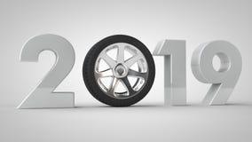 3D un'illustrazione di 2019, data di festa con la ruota di automobile L'idea dell'era delle automobili, dei veicoli e del traspor illustrazione vettoriale