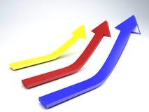 3d un'illustrazione di tre frecce, concetto choice Fotografia Stock