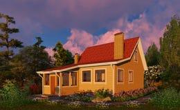 3d unaocznienie równo Drewniany dom wśród kwiatów ilustracji