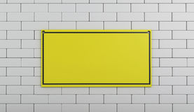 3d Under construction sign on brick wall. Stock Image