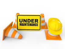 3d under maintenance sign board and construction cones Stock Images