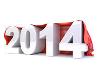 3d 2014 under red cloth. 3d render illustration of a white 2014 object under a red cloth royalty free illustration