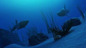 3D Underwater scene with sharks Stock Image