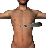D'une façon minimum la coupe envahissante d'abdomen de chirurgie troue le cuir chevelu Images stock