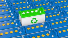 3d unieke lood zure batterij met kringloopsymbool royalty-vrije illustratie