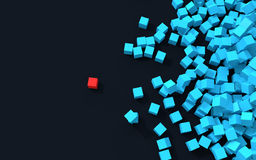 3d unique cube standing out from pile of cubes Royalty Free Stock Photo