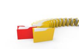 3d unique folder in folders. 3d render of unique red folder in yellow folders Stock Image
