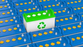 3d unique lead acid battery with recycle symbol Royalty Free Stock Images