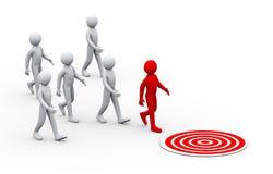 3d unique leadership moving toward target Stock Photos