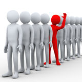 3d unique man in row. 3d illustration of unique red person stepping out from row of people.  3d rendering of human people character Royalty Free Stock Photography