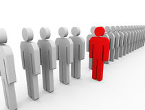 3d Unique person. 3d Illustration of red unique man standing out from list. unique and stand out of crowd concept Royalty Free Stock Image
