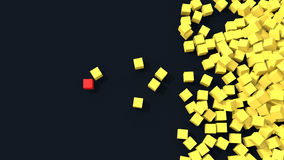 3d unique red cube standing out from pile of yellow cubes Royalty Free Stock Photos