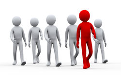 3d unique successful man - leadership concept. 3d illustration of group of people following their leader.  3d rendering of human people character Royalty Free Stock Photography