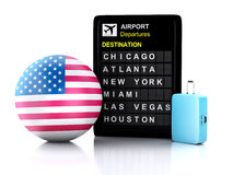 3d united states airport board and travel suitcases on white ba Royalty Free Stock Photography